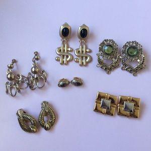 Set of 6 Vintage Clip-on Earrings